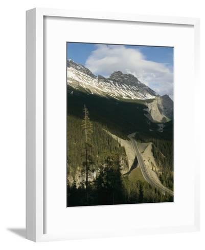 Mountain Peaks Along the Icefields Parkway-Michael S^ Lewis-Framed Art Print