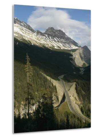 Mountain Peaks Along the Icefields Parkway-Michael S^ Lewis-Metal Print