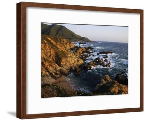 Crashing Surf on the Rocky Coast of California-Sisse Brimberg-Framed Art Print
