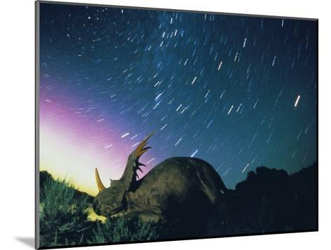 Northern Lights and Meteor Trails over a Replica of a Styracosaurus-Jonathan Blair-Mounted Photographic Print