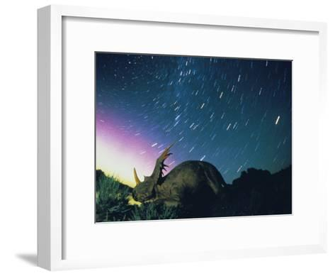 Northern Lights and Meteor Trails over a Replica of a Styracosaurus-Jonathan Blair-Framed Art Print