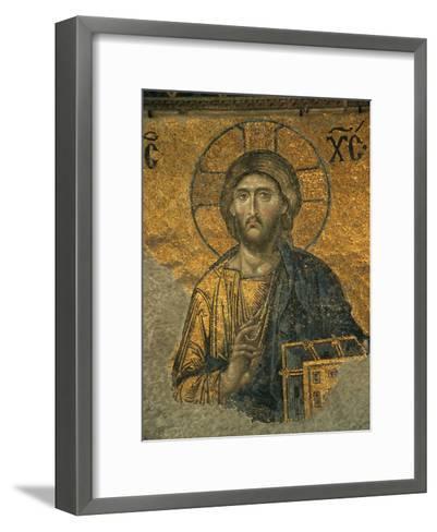 A Mosaic of Jesus at St. Sophia Hagia in Istanbul-Tim Laman-Framed Art Print