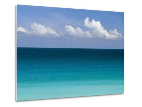 Clear Blue Water and White Puffy Clouds Along the Beach at Cancun-Michael Melford-Metal Print