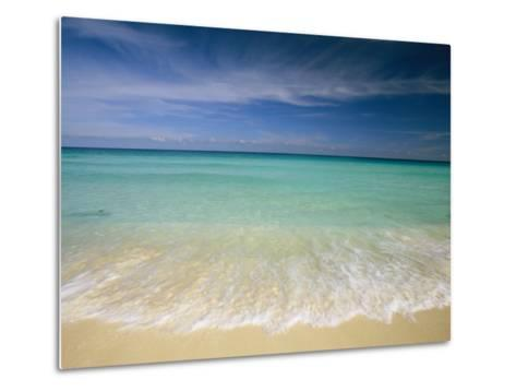 Clear Blue Water and Wispy Clouds Along the Beach at Cancun-Michael Melford-Metal Print