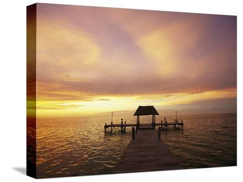 Sunset over the Gulf of Mexico Near Isla Holbox-Michael Melford-Stretched Canvas Print