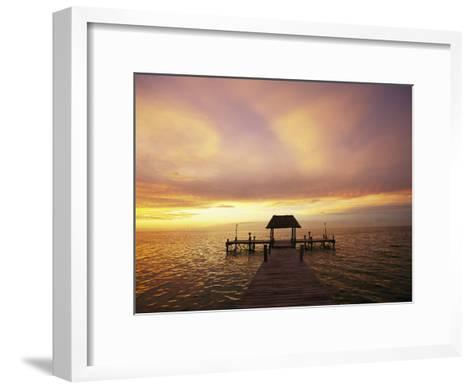 Sunset over the Gulf of Mexico Near Isla Holbox-Michael Melford-Framed Art Print