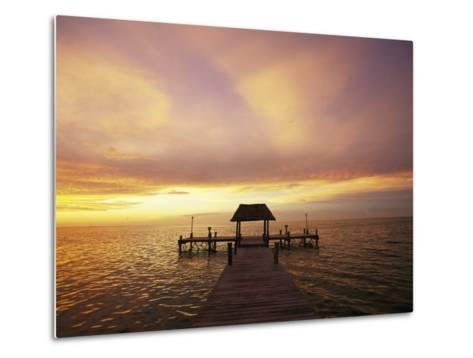Sunset over the Gulf of Mexico Near Isla Holbox-Michael Melford-Metal Print