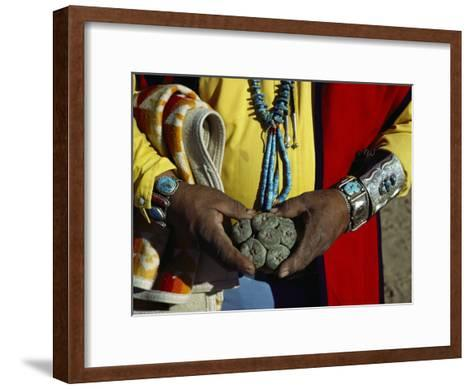 Close View of Peyote Cacti (Lophophorus Williamsii) Being Held by a Native American Medicine Man-Ira Block-Framed Art Print