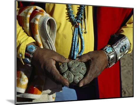 Close View of Peyote Cacti (Lophophorus Williamsii) Being Held by a Native American Medicine Man-Ira Block-Mounted Photographic Print