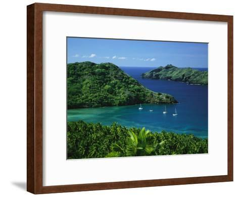 Sailboats Anchored in a Cove of Blue Water on an Asian Island-Tim Laman-Framed Art Print