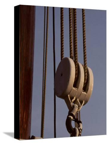 Giant Nautical Pulleys Help Leverage Heavy Sails on a Sailing Ship-Stephen St^ John-Stretched Canvas Print