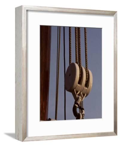 Giant Nautical Pulleys Help Leverage Heavy Sails on a Sailing Ship-Stephen St^ John-Framed Art Print
