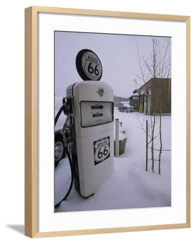 Snow-Covered Gas Pump on Historic Route 66-Rich Reid-Framed Art Print