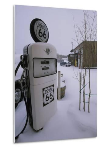 Snow-Covered Gas Pump on Historic Route 66-Rich Reid-Metal Print