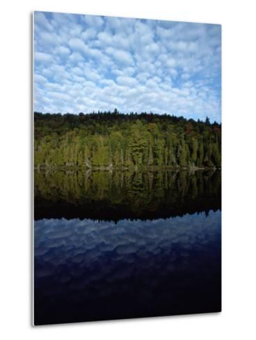 Shoreline and Clouds Reflected in the Still Waters of Rainbow Lake-Sam Abell-Metal Print