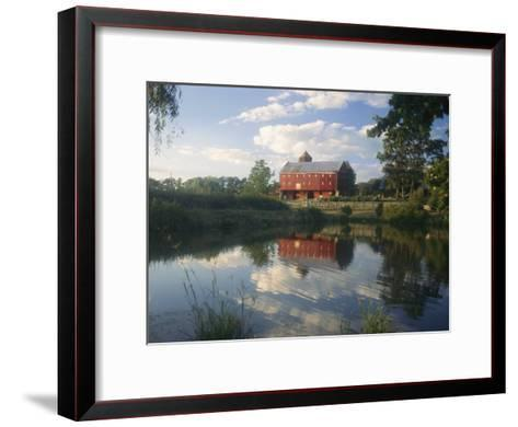 An Old Red Barn Reflected in a Pond-Richard Nowitz-Framed Art Print