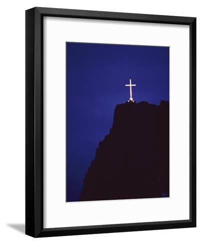 A Large Cross Situated on a Rocky Headland-George F^ Mobley-Framed Art Print