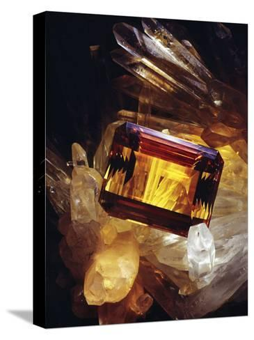 Citrine Resting on a Crystal-Victor R^ Boswell, Jr-Stretched Canvas Print