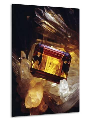 Citrine Resting on a Crystal-Victor R^ Boswell, Jr-Metal Print