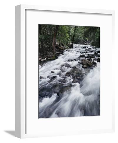 A Shallow Woodland Stream Tumbles over its Rocky Bed-Melissa Farlow-Framed Art Print