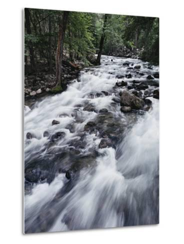 A Shallow Woodland Stream Tumbles over its Rocky Bed-Melissa Farlow-Metal Print