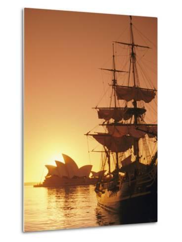 Sydney Opera House and the Hms Bounty, a Replica of the Famous Ship, Silhouetted by the Setting Sun-Richard Nowitz-Metal Print