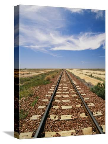 A View of the Indian Pacific Railroad Crossing the Nullarbor Plain-Richard Nowitz-Stretched Canvas Print