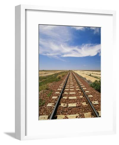 A View of the Indian Pacific Railroad Crossing the Nullarbor Plain-Richard Nowitz-Framed Art Print