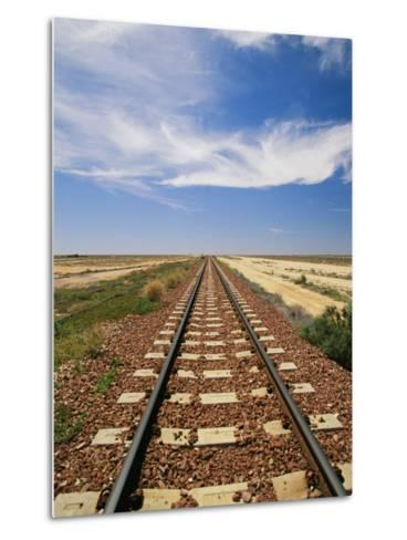 A View of the Indian Pacific Railroad Crossing the Nullarbor Plain-Richard Nowitz-Metal Print