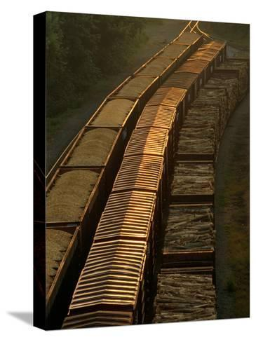 Three Trains Run on Parallel Tracks-Medford Taylor-Stretched Canvas Print