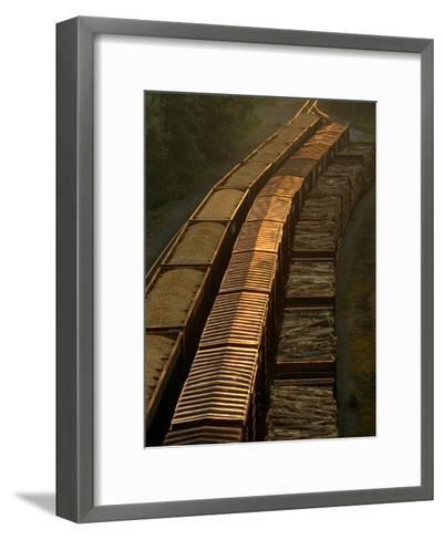 Three Trains Run on Parallel Tracks-Medford Taylor-Framed Art Print