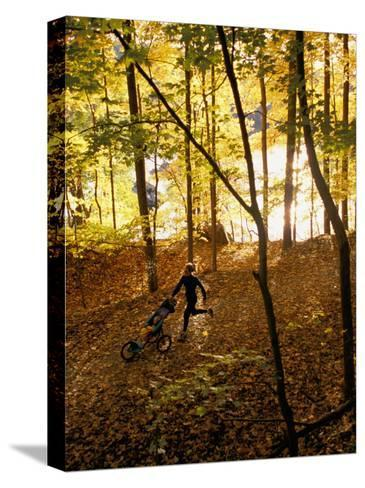 A Woman Pushes a Baby Stroller as She Jogs Through a Wooded Area-Skip Brown-Stretched Canvas Print