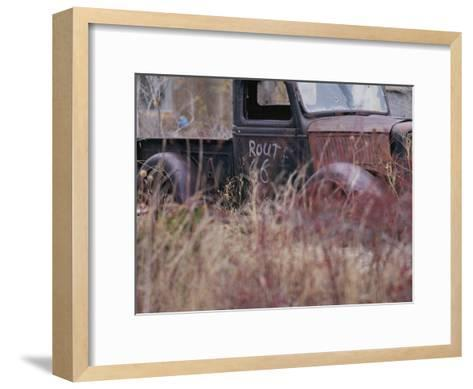 An Abandoned Old Truck Sits in a Field of Autumn Colored Grasses-Roy Gumpel-Framed Art Print