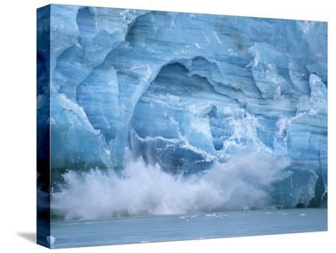 Hubbard Glacier Calving Chunks of Ice into the Water-Michael Melford-Stretched Canvas Print
