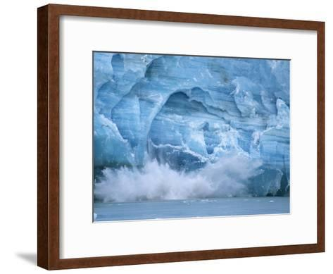 Hubbard Glacier Calving Chunks of Ice into the Water-Michael Melford-Framed Art Print