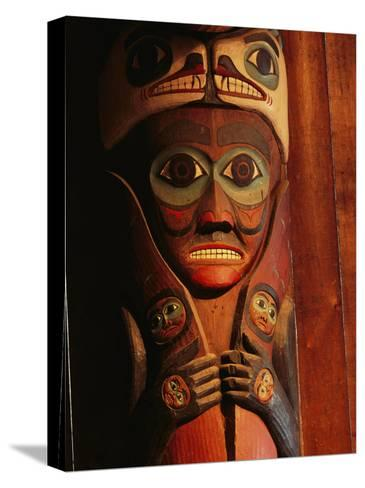 Detail of House Post in the Totem Bight Clan House-Rich Reid-Stretched Canvas Print