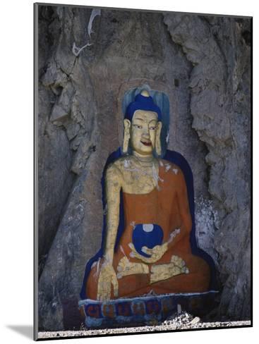 A Painted Stone Buddha Near Lhasa, Tibet-Gordon Wiltsie-Mounted Photographic Print