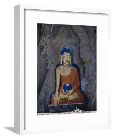 A Painted Stone Buddha Near Lhasa, Tibet-Gordon Wiltsie-Framed Art Print