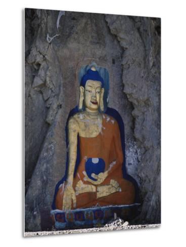 A Painted Stone Buddha Near Lhasa, Tibet-Gordon Wiltsie-Metal Print
