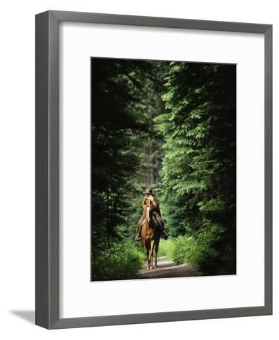 Horseback Riding on an Emerald Lake Lodge Bridle Trail-Michael Melford-Framed Art Print