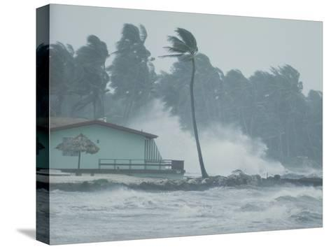 The Powerful Wind and Rain of a Hurricane Pummel a Building-Otis Imboden-Stretched Canvas Print