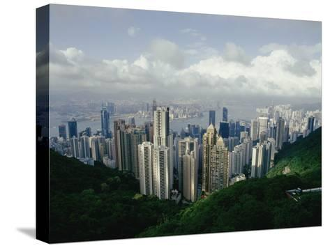 Hong Kong Island and the Bay with Kowloon on the Far Shore-Jason Edwards-Stretched Canvas Print