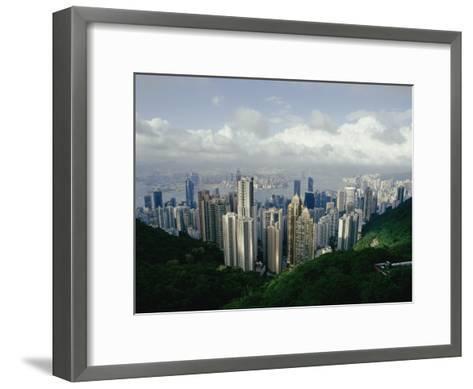 Hong Kong Island and the Bay with Kowloon on the Far Shore-Jason Edwards-Framed Art Print
