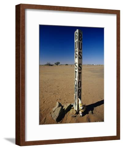 A Garden Gnome at a Bus Stop in an Outback Desert Town-Jason Edwards-Framed Art Print