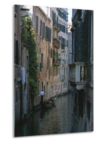 A Gondolier and Two Tourists on a Canal in Venice-Taylor S^ Kennedy-Metal Print