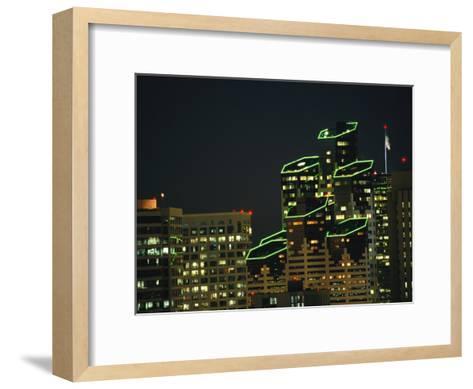 San Diego High Rises Brightly Lit at Night-Karen Kasmauski-Framed Art Print