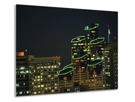 San Diego High Rises Brightly Lit at Night-Karen Kasmauski-Metal Print