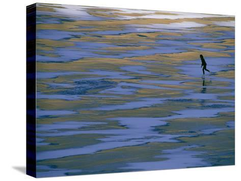 Woman Skating on the Ice at Mcphee Reservoir-Kate Thompson-Stretched Canvas Print