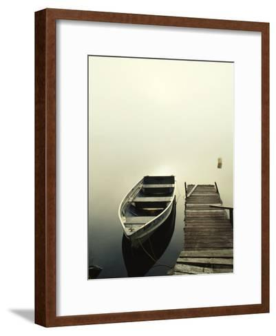 The Morning Sun Shines on a Rowboat Tied to a Dock-Stephen Alvarez-Framed Art Print