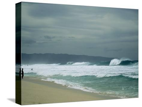 Waves Crashing onto the Beach of a South Pacific Island-Todd Gipstein-Stretched Canvas Print